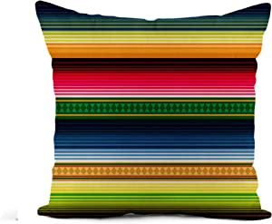 Awowee Flax Throw Pillow Cover Colorful Stripe Mexican Pattern Ethnic Geometric Folklore Abstract Chic 18x18 Inches Pillowcase Home Decor Square Cotton Linen Pillow Case Cushion Cover