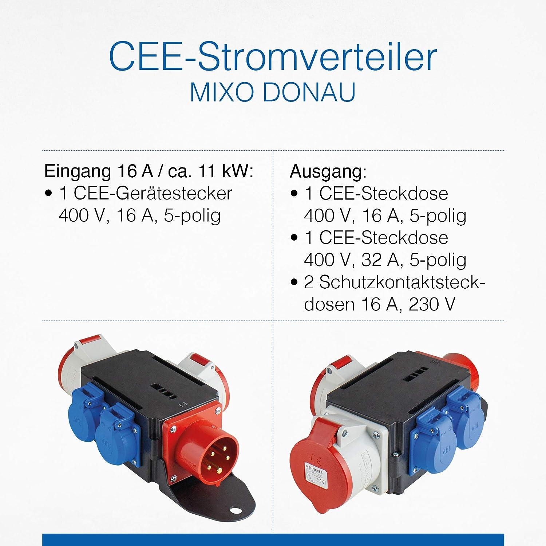 As Schwabe Mixo Adapter Stromverteiler Donau Cee Stecker Auf 2 Cee Steckdosen 32 A 16 A Und 2 Schuko Steckdosen Robuster Baustellen Starkstrom Verteiler Ip44 Made In Germany I 60522 Baumarkt