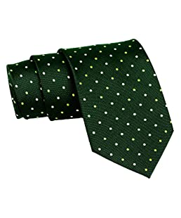 Barata Formal Ties For Men's Green and Gold Polka Dot Tie
