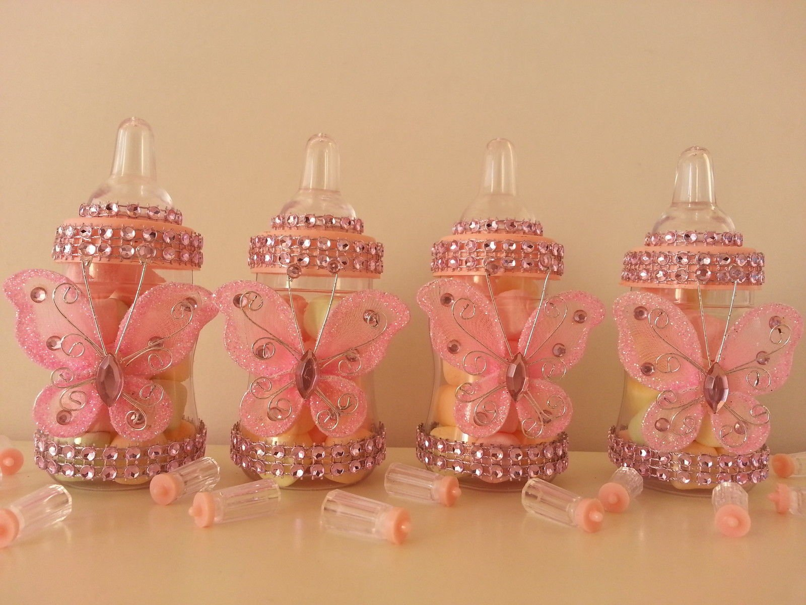 12 Pink Fillable Butterfly Bottles Baby Shower Favors Prizes Girl Decorations
