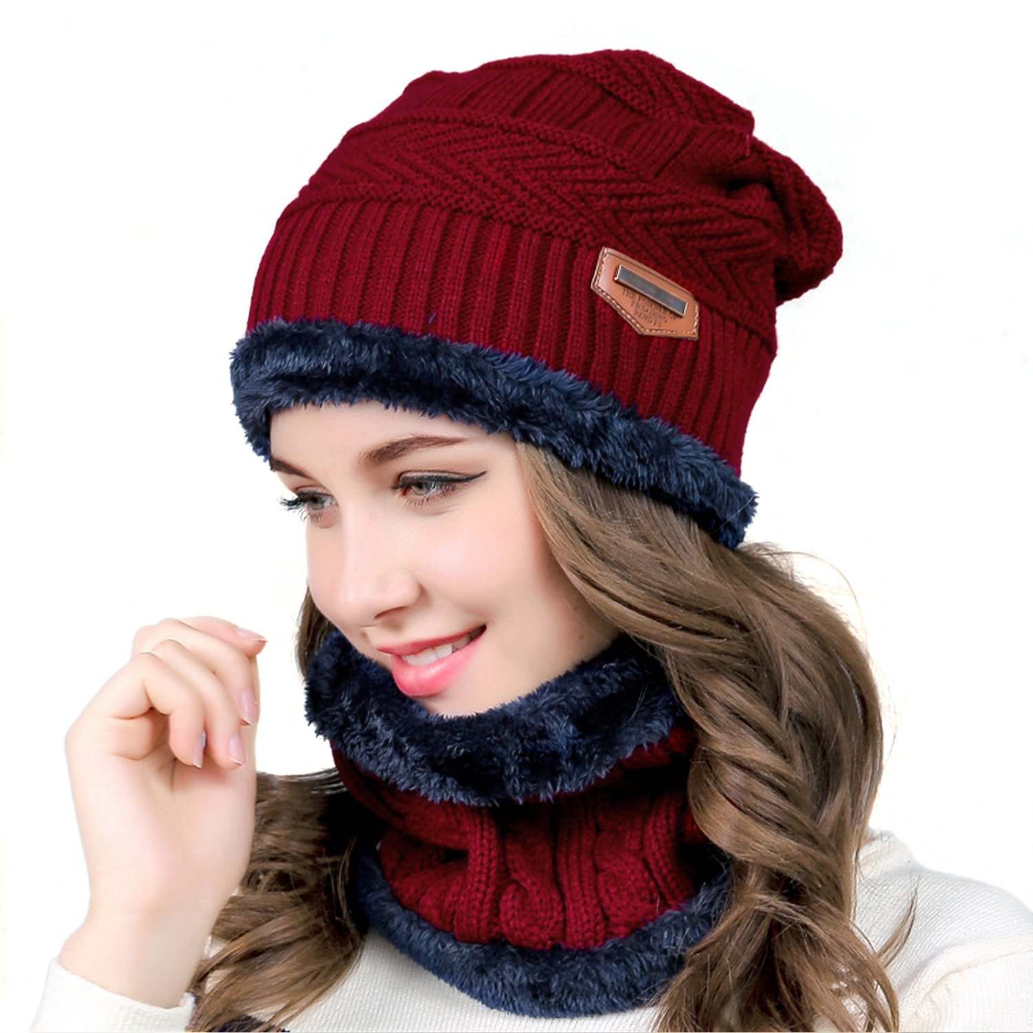 muco Womens Mens Winter Hat Warm Thick Beanie Cap Scarf For Winter Knit Ski Beanies CSHat&ScarfBK