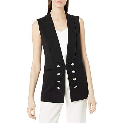 Tahari ASL Women's Long Shawl Collar Pinstriped Vest at Women's Clothing store