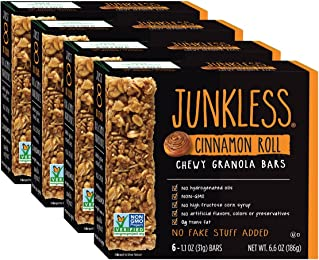 Junkless Chewy Granola Bars, Cinnamon Roll, 1.1 oz., 6 Bars (4 Count)