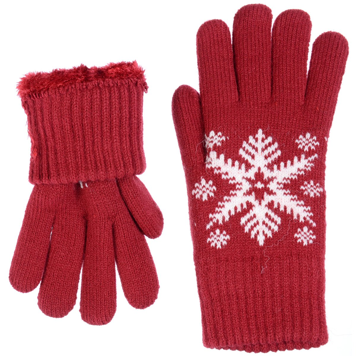 BYOS Womens Winter Ultra Warm Plush Fleece Lined Knit Gloves With Various Pattern Design (Red Snowflake) by Be Your Own Style (Image #4)