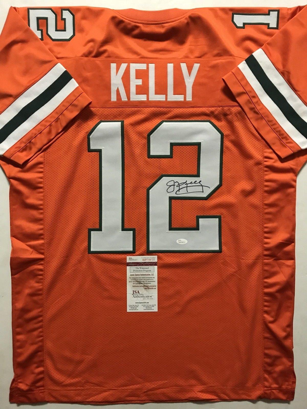 Autographed/Signed Jim Kelly Miami Orange Football Jersey JSA COA