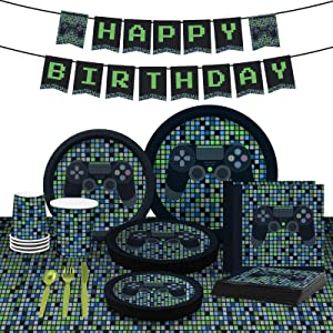 My Greca Video Game Party Supplies - 16 Guests - Gamer Boy Birthday Party Decorations - Plates, Cups, Napkins, Happy Birthday Banner, Table Cover, Utensil Sets - Controller Gaming Themed Party