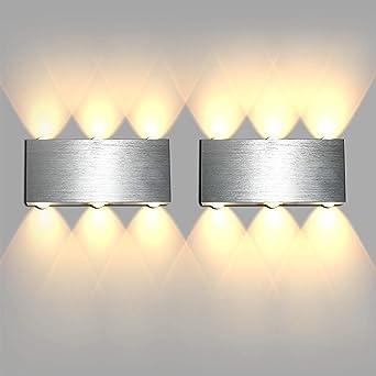 Lightess 6W LED Wandleuchte Innen Modern Wandlampe Flurlampe Silber Wandbeleuchtung Up and Down Warmwei/ß aus Aluminium