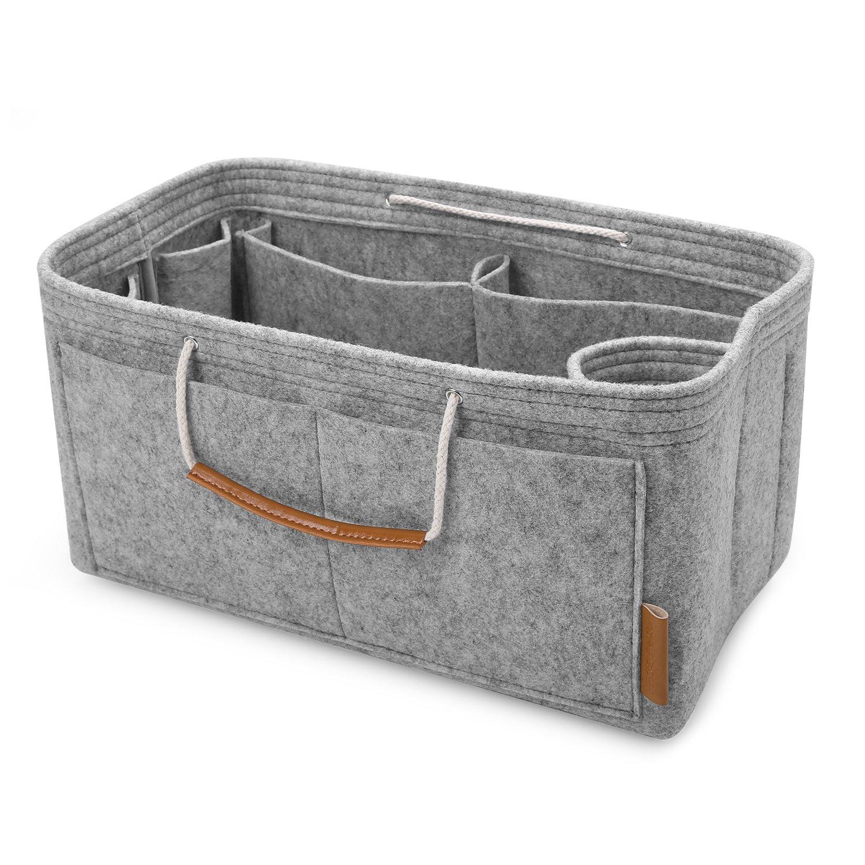 FOREGOER Felt Purse Insert Handbag Organizer Bag in Bag Organizer with Handles - Medium Size