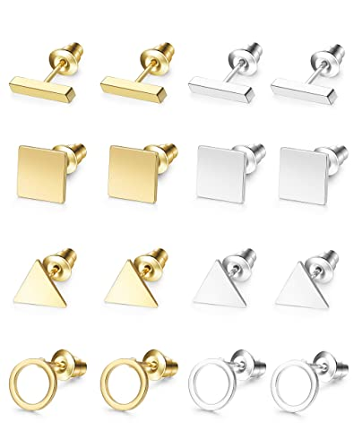 a5e518ac2 Amazon.com: Hanpabum 8 Pairs Simple Geometric Stud Earrings for Women Ear  Piercing Jewelry Set Bar Square Triangle Ring Earring: Jewelry
