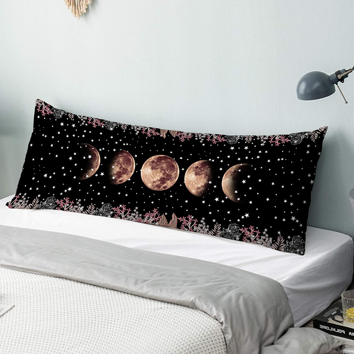 Body Pillow Cover, 20 x 54 inches Digital Printing Body Pillow Case with Hidden Zipper Closure, Ultra Soft Velvet Body Pillow Pillowcase for Hair and Skin, Moon Phase Moonlit