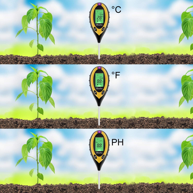 4 in 1 Soil Tester Moisture Meter Plant Soil Tester Kit with PH Abafia Soil pH Tester Light and Moisture Acidity Tester for Flowers//Grass//Plant//Garden//Farm//Lawn//Indoor /& Outdoor