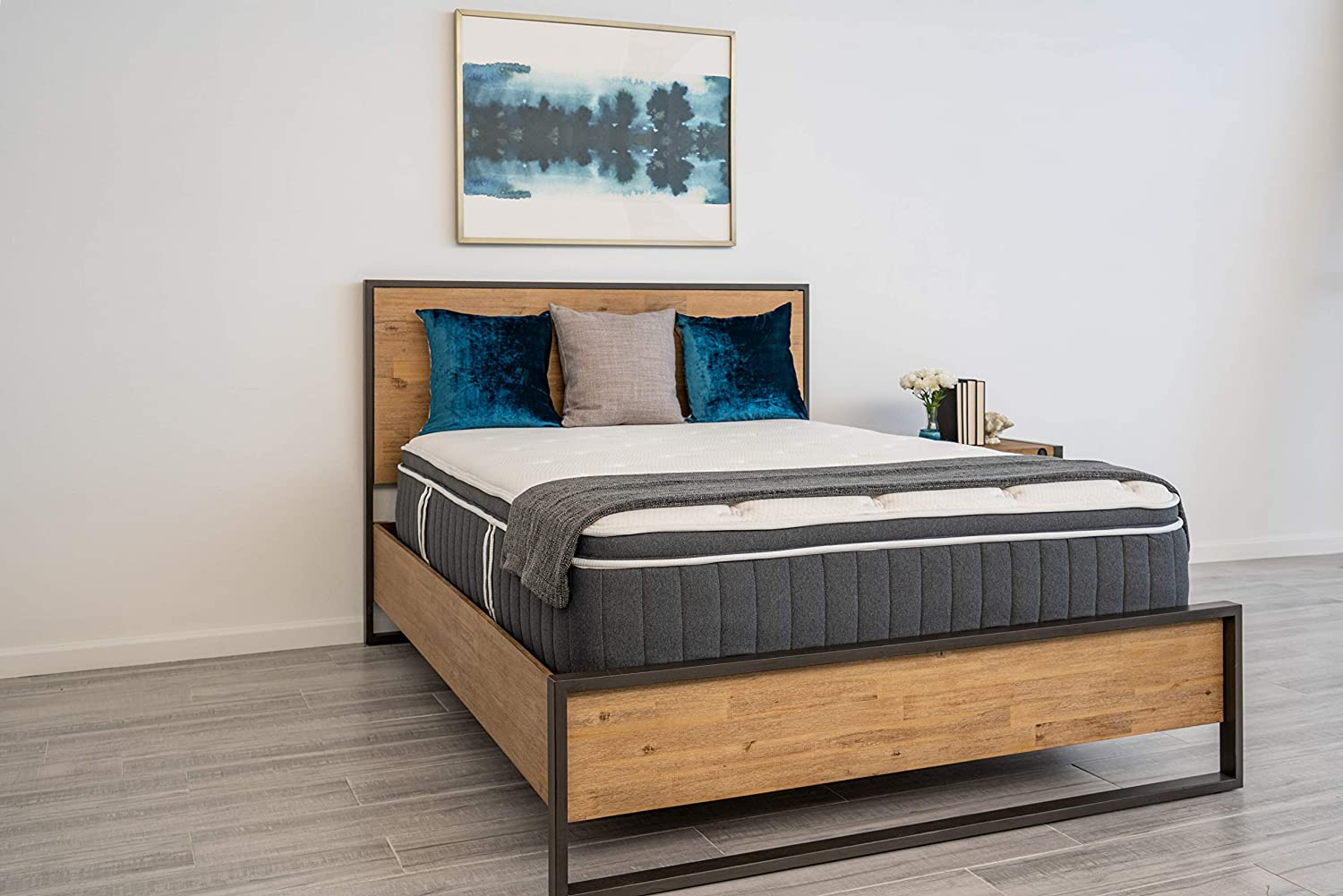 """Dreamfoam Bedding Polar 14"""" Cushion Firm Eurotop Cooling Hybrid Mattress with Cool to Touch Fabric, Twin"""