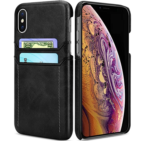 purchase cheap cac8e 77933 Ansiwee Compatible with iPhone Xs Case iPhone X Cover, Wallet Phone Case  Leather Slim Back Wallet Slim Leather Back Case Cover with Credit Card  Holder ...