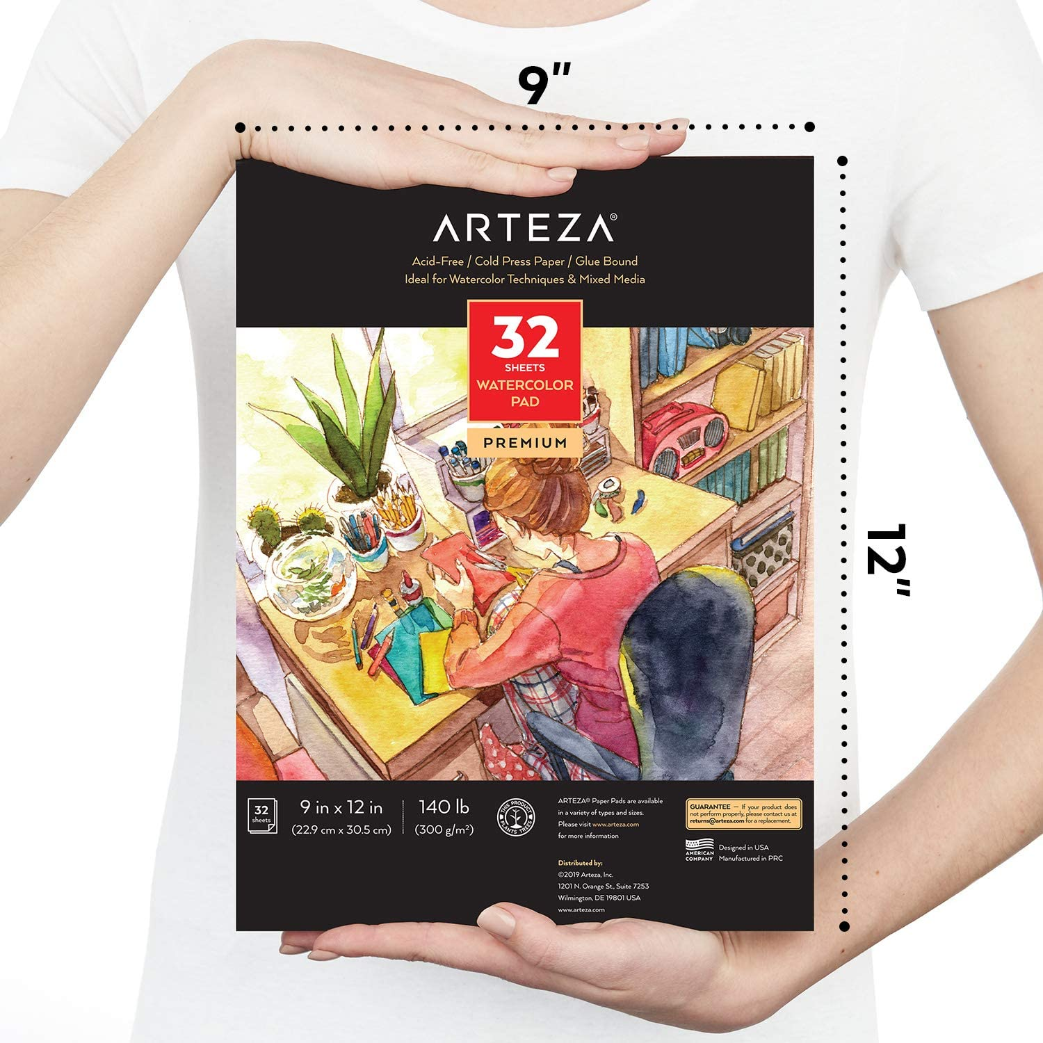 ARTEZA Watercolor Paper 9x12 Inch, Pack of 2, 64 Sheets (140lb/300gsm), Cold Pressed Art Sketchbook Pad for Painting & Drawing, Wet, Mixed Media: Arts, Crafts & Sewing
