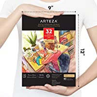 "Arteza 9""x12"" Watercolor Pad, 32 Sheets, 140lb/300gsm, Glue Bound, Cold Pressed, Acid Free Watercolor Paper Pad, for Wet, Dry & Mixed Media"
