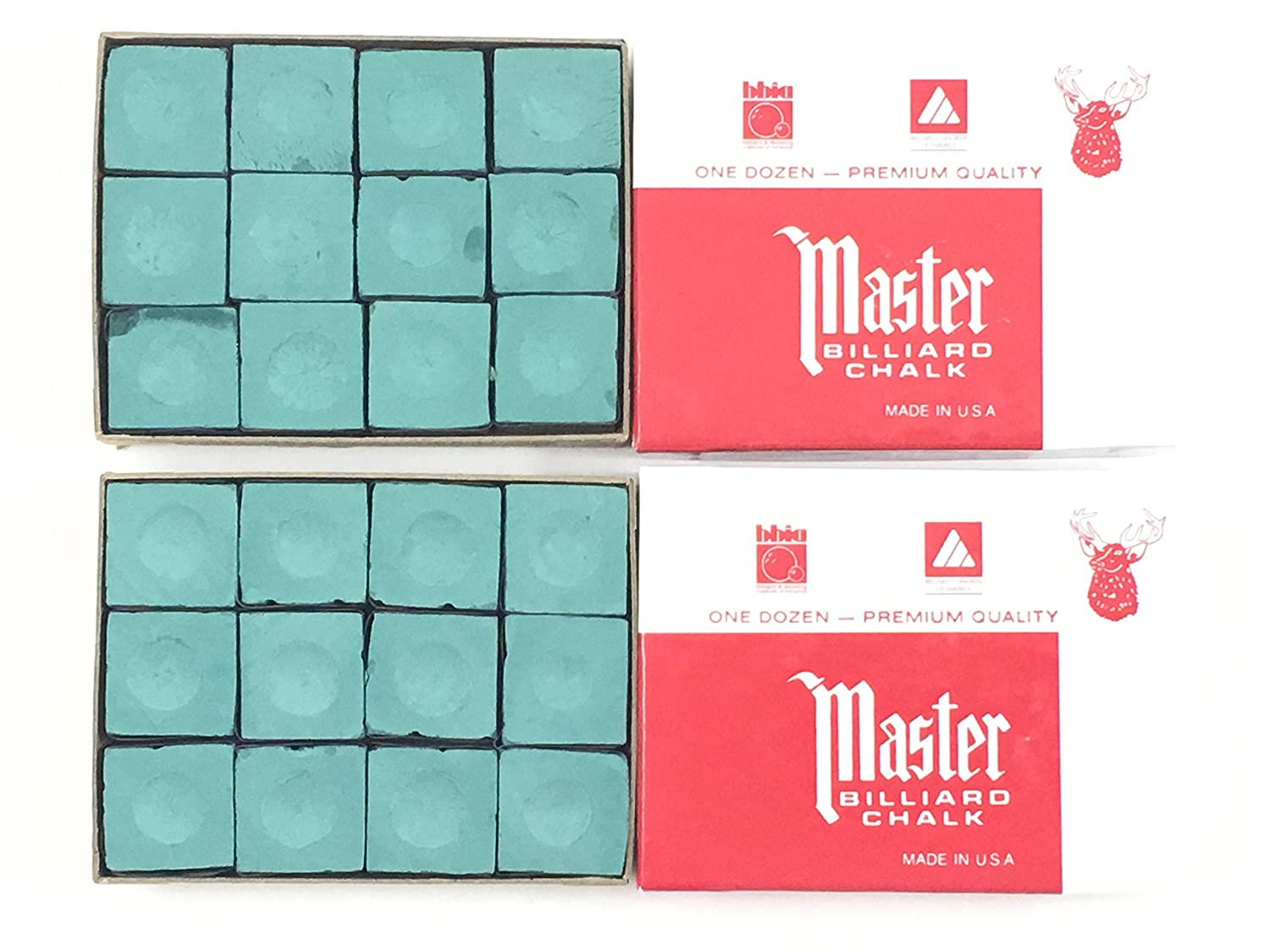 Made in the USA 2 Boxes of Master Chalk 24 Pieces for Pool Cues and Billiards Sticks Tips