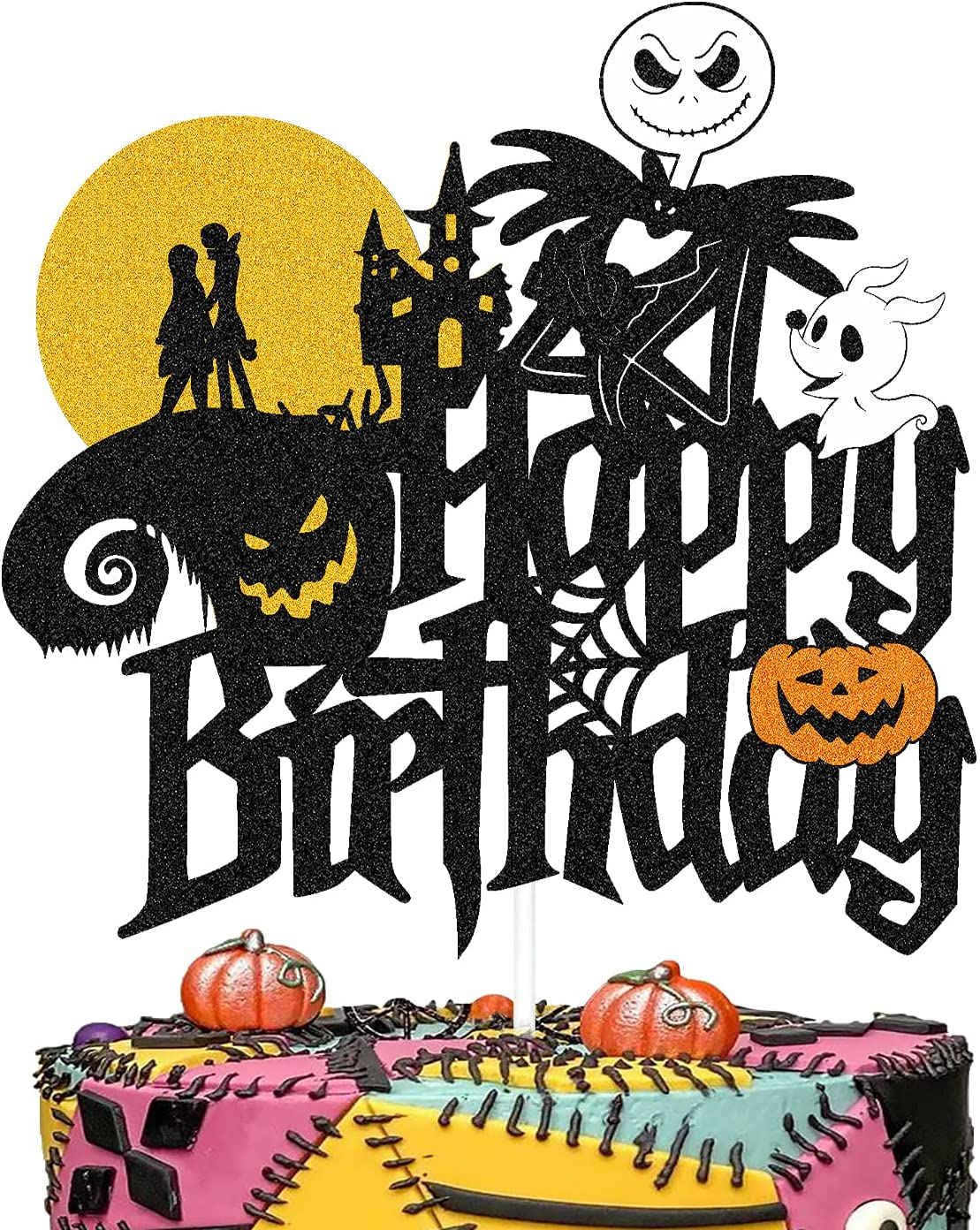 Skull Happy Birthday Cake Topper Decorations for Nightmare-Before-Christmas Cartoon Movie Jack Sally Theme Birthday Party Supplies Double Sided Glitter Black Décor
