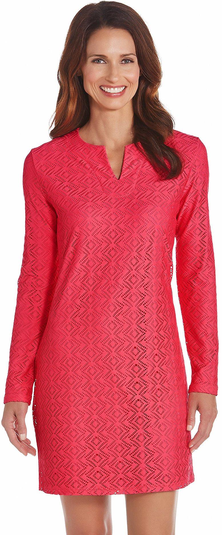 Coolibar UPF 50+ Women's Crochet Tunic - Sun Protective (Small- Bright Coral)