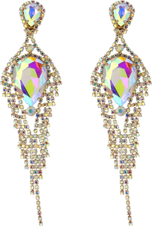 Womens Descending Austrian Crystals Clip On Tear Drop Dangle Cascade Fashion Earrings