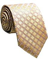 New Classic Black&Gold Striped Tie Woven Jacquard Silk Men's Suits Ties Necktie