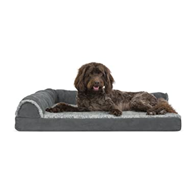 Furhaven Pet Dog Bed | Deluxe Cooling Gel Memory Foam Orthopedic Two-Tone Plush Faux Fur & Suede L Shaped Corner Chaise Lounge Sofa-Style Living Room Couch Pet Bed for Dogs & Cats, Stone Gray, Large