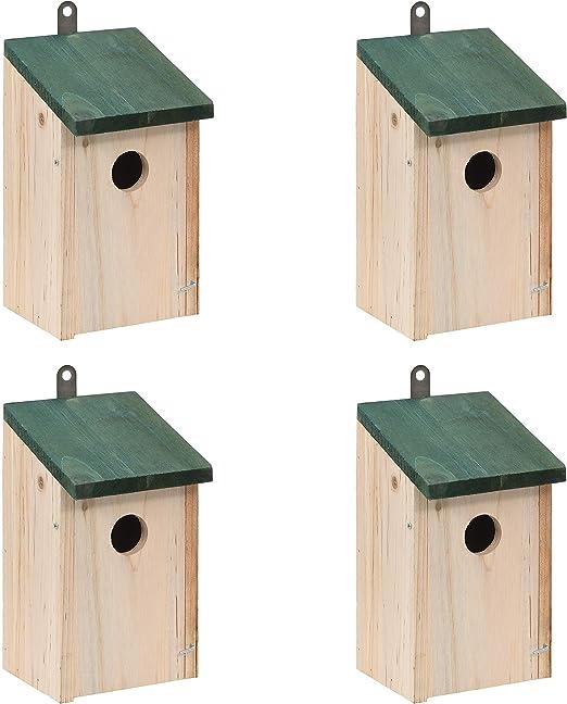 vidaXL Madera Maciza de Pino 4X Casas para Pájaros de Jardín Nido para Aves: Amazon.es: Hogar
