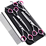 Gimars 4CR Stainless Steel Dog Grooming Scissors Kit with Safety Round Tip, Heavy Duty Titanium Coated Pet Grooming…