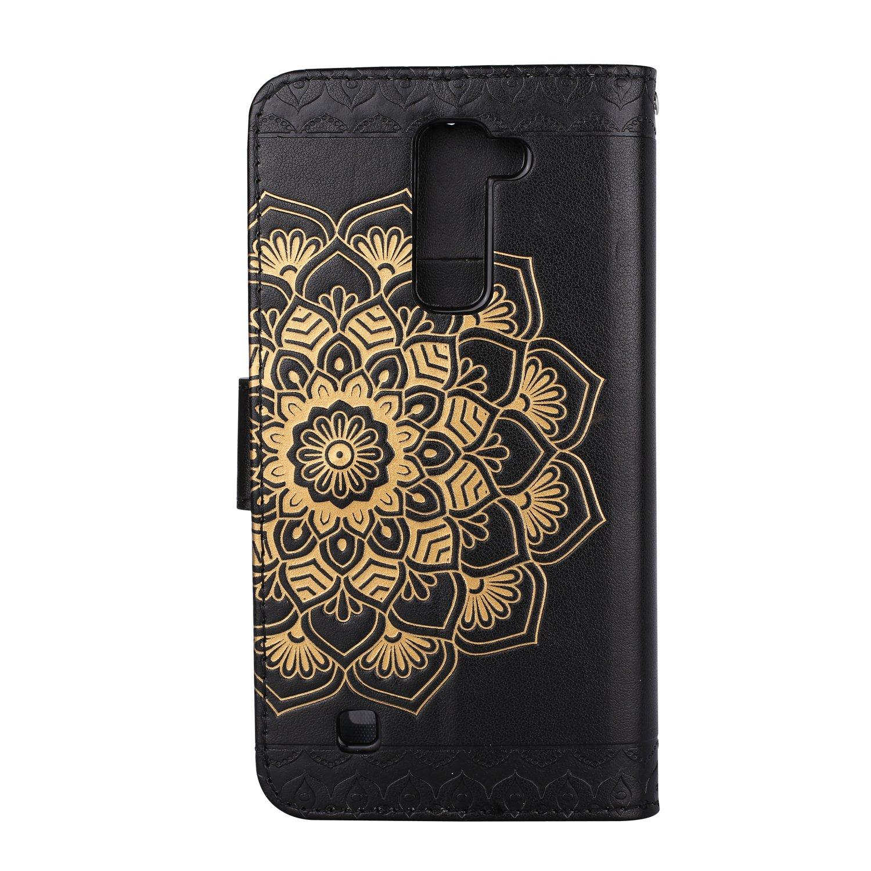 Lomogo Coque LG K8 HOHA23707 Or Rose Housse en Cuir Portefeuille avec Porte Carte Fermeture par Rabat Aimant/é Anti Choc Etui de Protection pour LG K8 2016