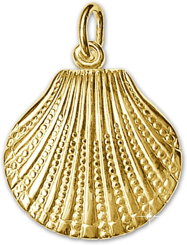 Clever Schmuck Goldener Anh/änger 3D Muschel 15 mm beidseitig plastisch gl/änzend 333 GOLD 8 KARAT