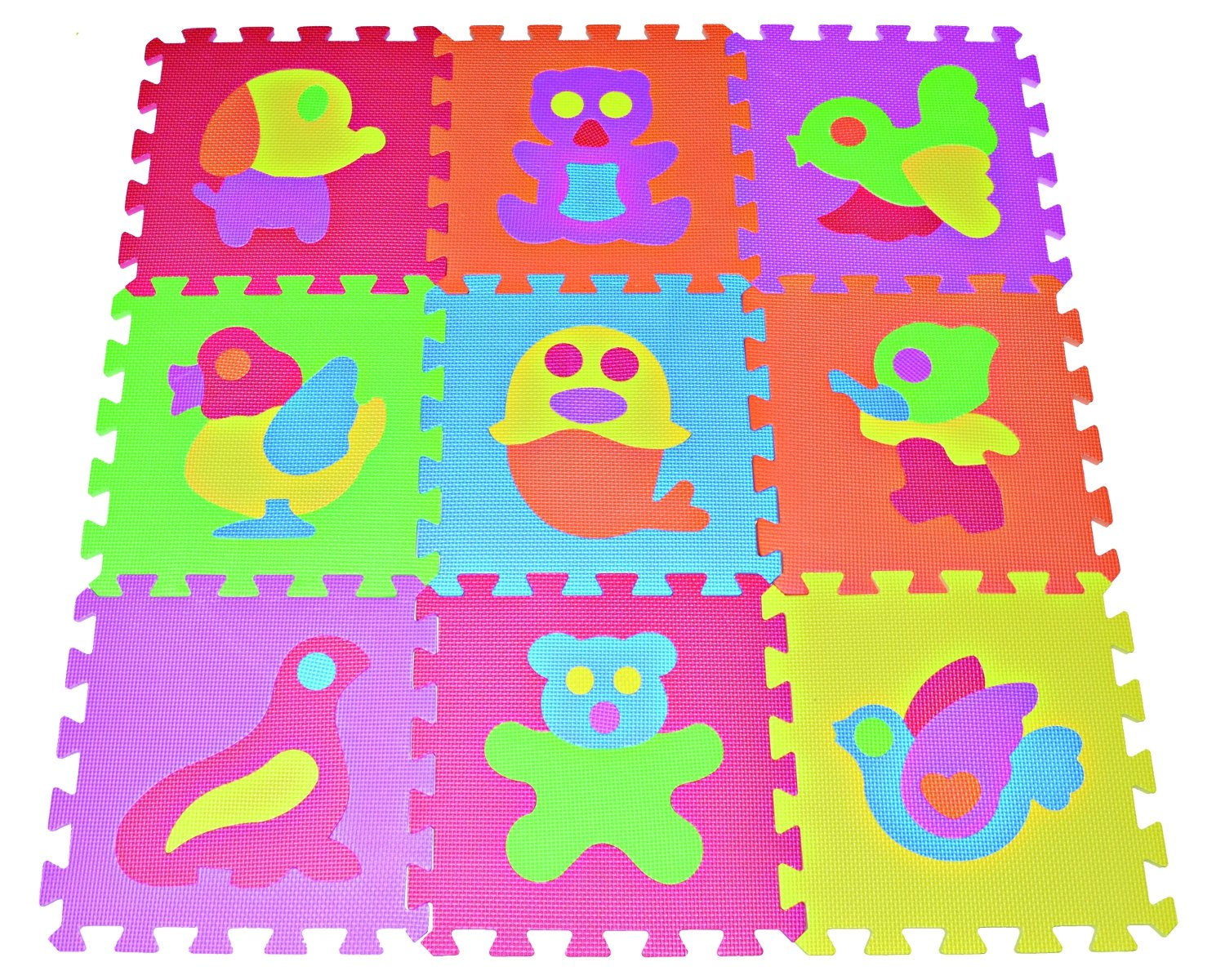 Amazon.com: Zoo Puzzle Play Mat 9-tile EVA Foam Rainbow Floor by ...