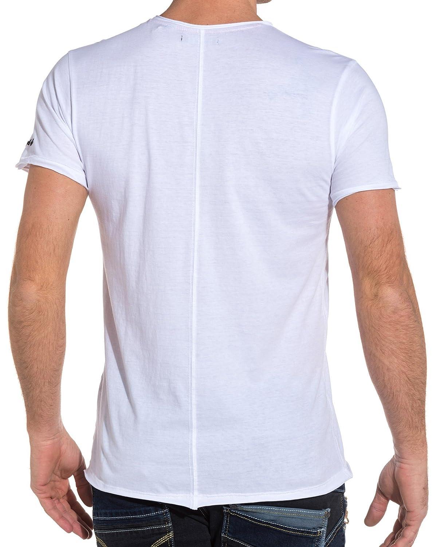 f651e673af4f Deeluxe 74 - T Shirt Homme Blanc imprimé Squelette Fashion - Couleur  Blanc  - Taille  L  Amazon.fr  Vêtements et accessoires