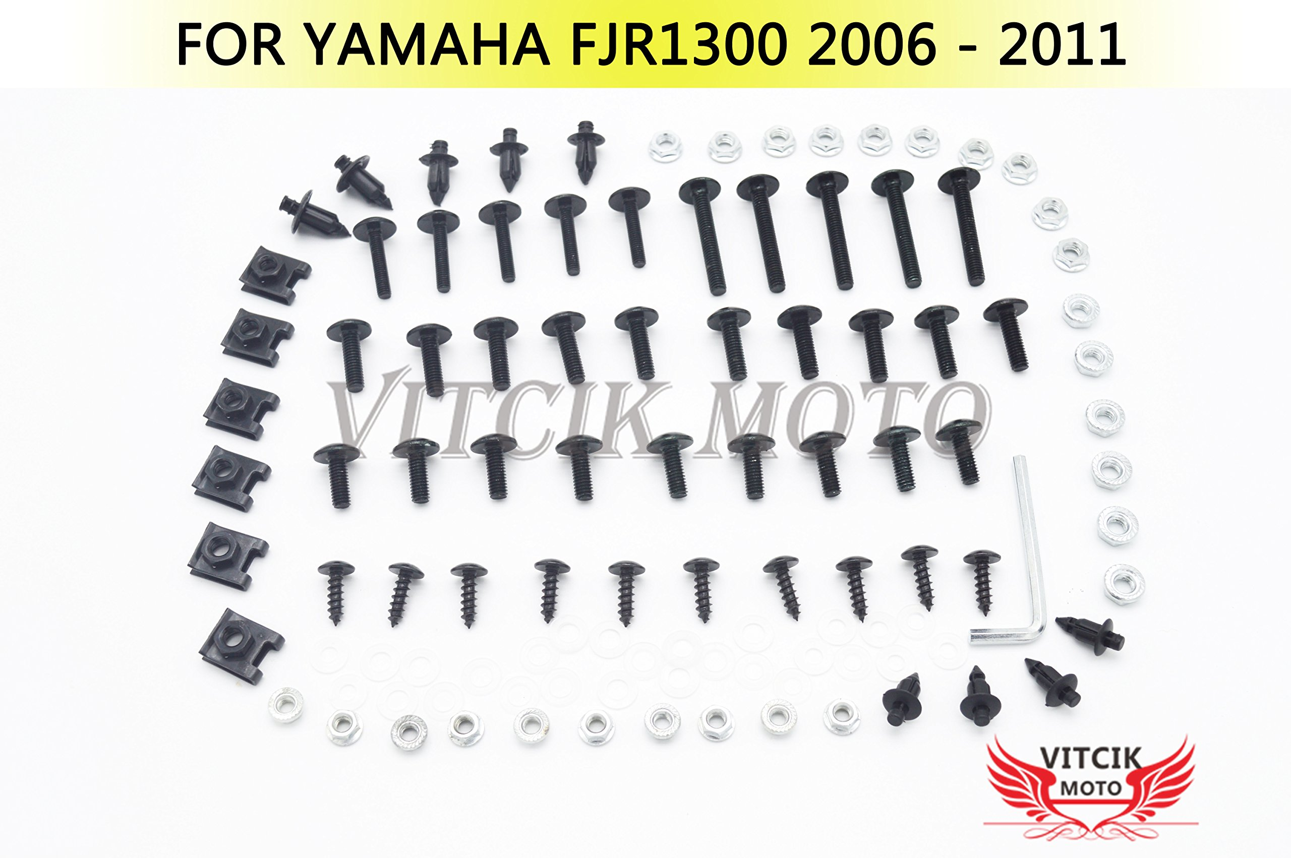 VITCIK Full Fairings Bolt Screw Kits for Yamaha FJR 1300 2006 2007 2008 2009 2010 2011 FJR 1300 06 - 11 Motorcycle Fastener CNC Aluminium Clips (Black & Silver)