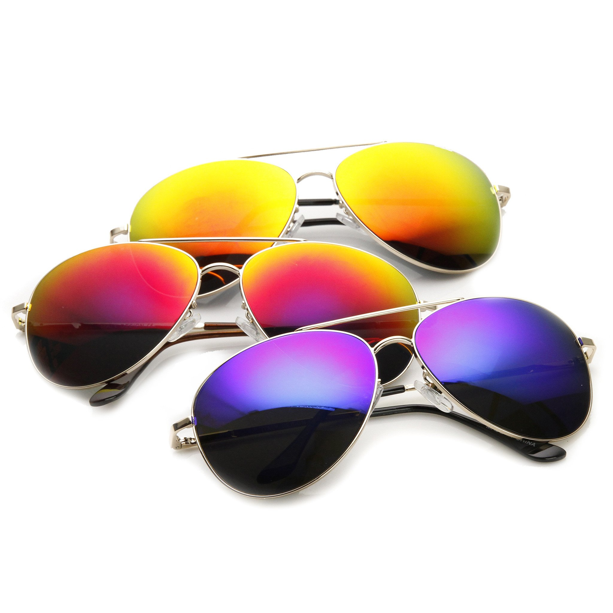 SWG Eyewear Silver Aviator Reflective Mirror UV400 Sunglasses Summer Collection Triple Pack