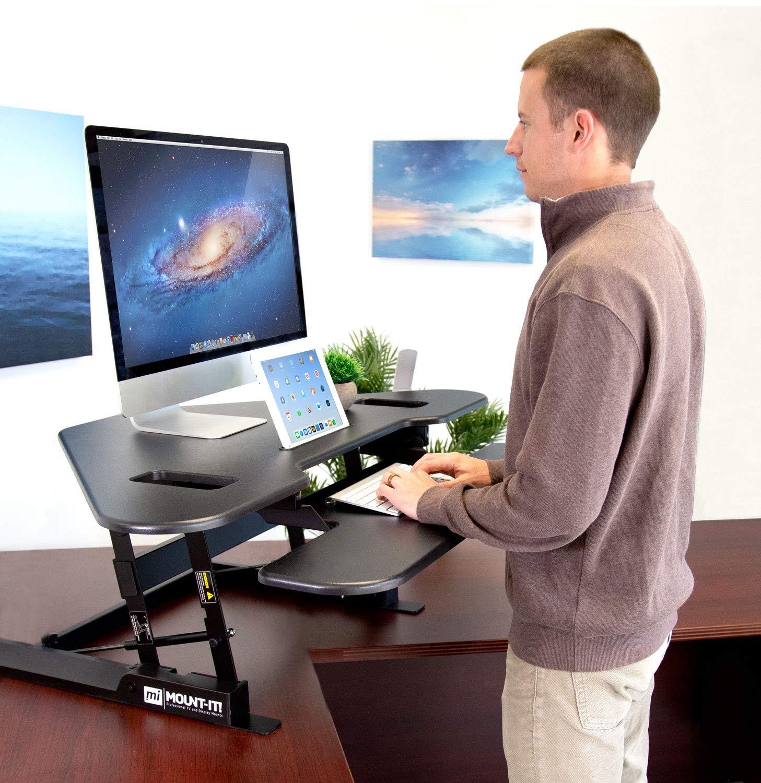 "White Corner Standing Desk Converter White Corner Stand Up Desk with Gas Spring Handle Stand Up Computer Workstation with Ergonomic Keyboard Tray Mount-It Height Adjustable 48/"" Wide Desktop"
