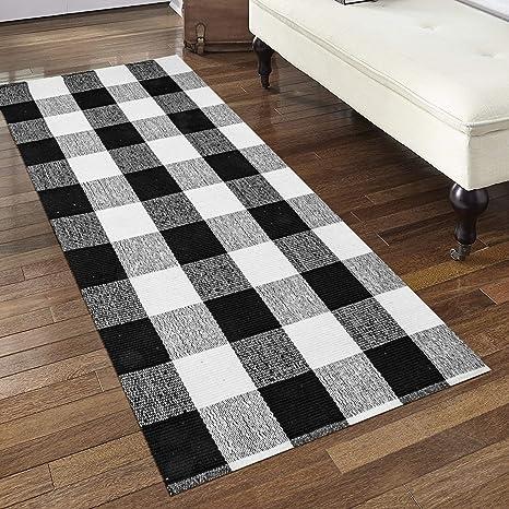Egyptian Cotton Tree] 100% Hand-Woven Washable Black and White Checkered  Kitchen Rugs, Non-Slip Kitchen Mat(24\