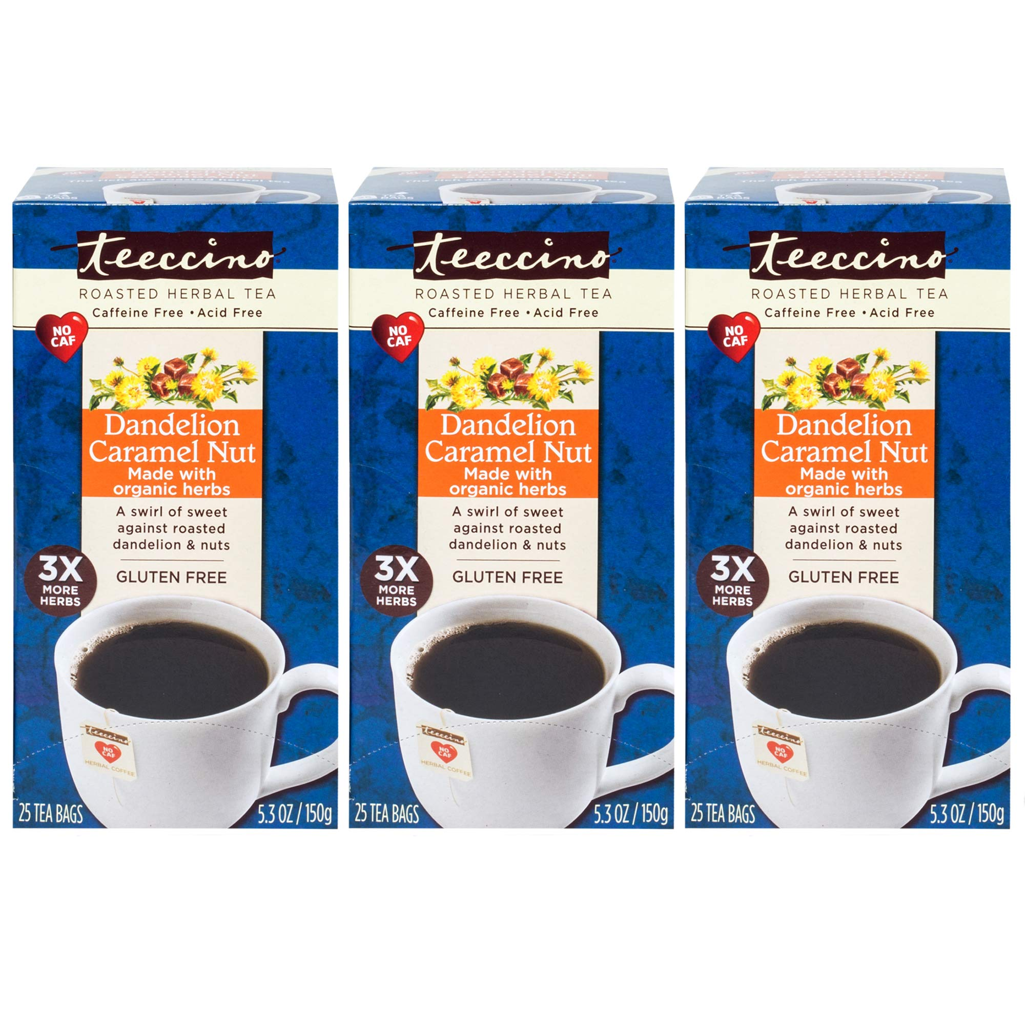 Teeccino Dandelion Caramel Nut Chicory Herbal Tea Bags, Gluten Free, Caffeine Free, Acid Free, 25 Count (Pack of 3) by Teeccino