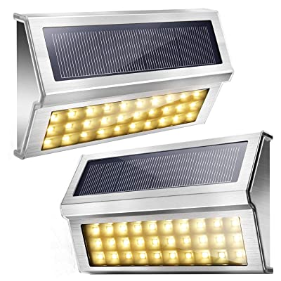 Upgraded 30 LED Solar Step Lights JACKYLED Outdoor Solar Stair Lights Waterproof Solar Powered Deck Lights Stainless Steel 3000K Warm Light Security Lights for Path Fence Patio Wall Dock 2-Pack