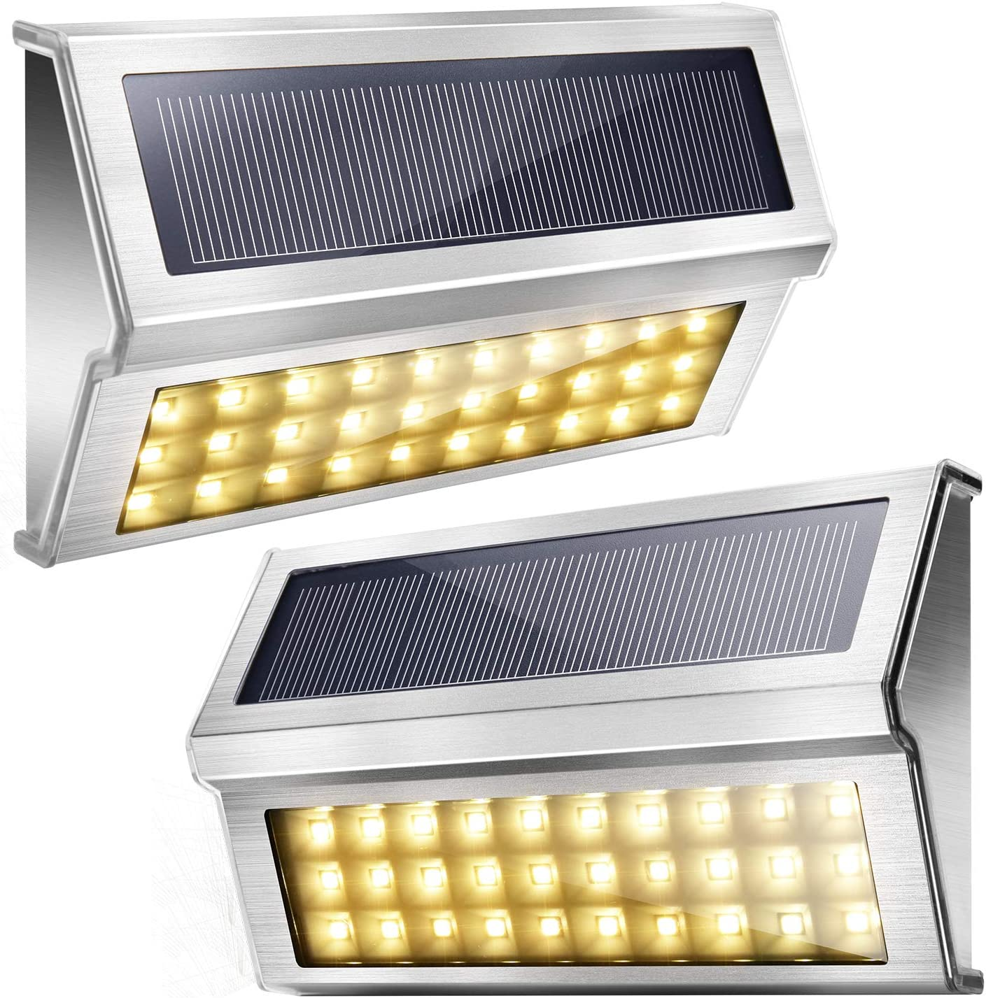 Upgraded 30 LED Bright Cool White Solar Step Lights JACKYLED 10-Pack Stainless Steel Solar Stair Lights Outdoor Waterproof Wireless Warning Security Lighting for Deck Dock Fence Porch Yard