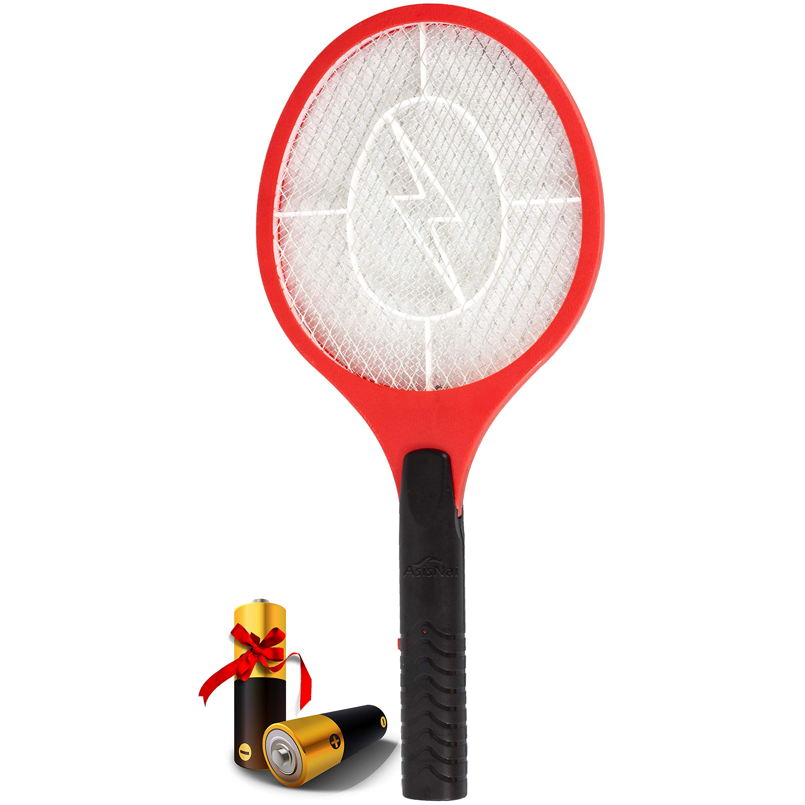 AsisNai Electric Fly Swatter Bug Zapper Mosquito Killer - 3000 Volt Zap Racket, Will Even Kill Cockroaches. Made from Durable Materials for Indoors and Outdoors. Red and Black - Incl. 2 Batteries by Asisnai