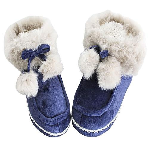 FERETI Botas De Casa Zapatos Botines Mujer Pantuflas Felpa Pelo Borreguillo Suelo Goma (36/