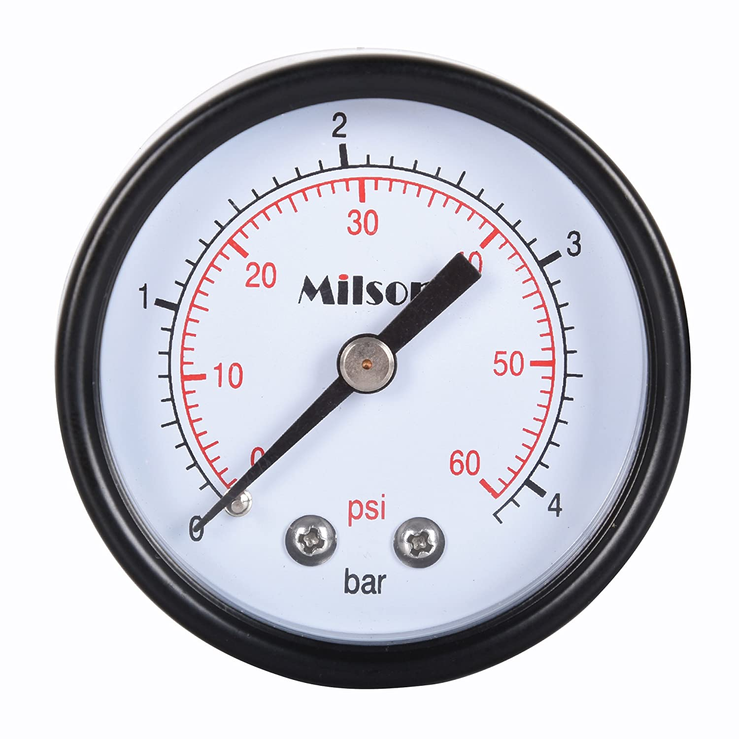 Milson Pressure Gauge 2 Black Steel Case Back Mount 1 4NPT 0 60 Psi Bar Accuracy 2.0 Brass Internal Multiple Function