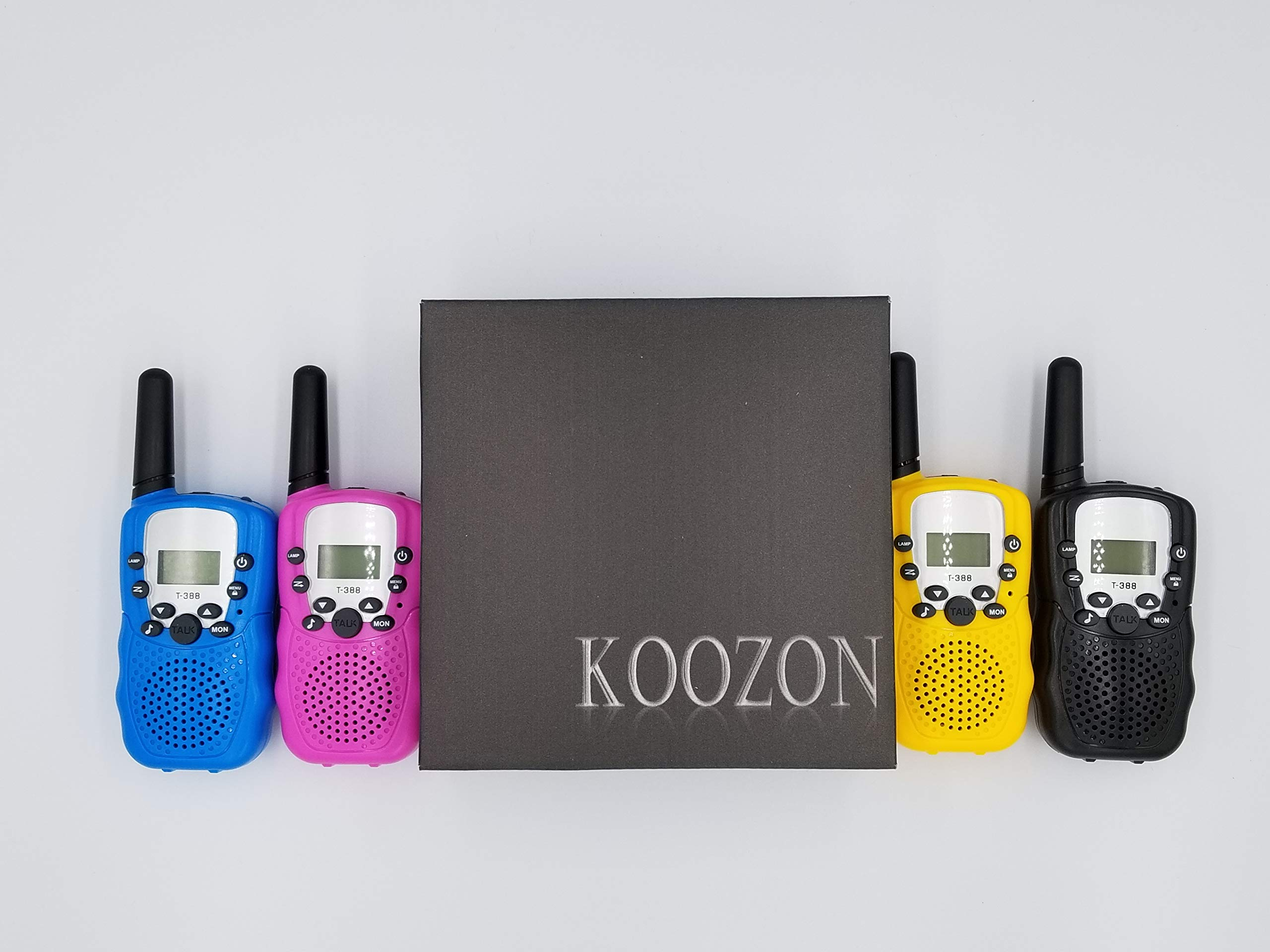 KoozonKid 4 Pack Walkie Talkies for Kids, 22 Channels 2 Way Radio Toy, Colorful Cute Kids Wakie Talkie with LCD Flashlight and Earphone Jack, Outdoor Adventures, Camping, Hiking, 2 Miles Long Range by KoozonKid (Image #1)