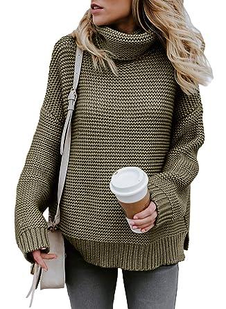452b30498d Asvivid Womens High Neck Long Sleeve Slim Fit Chunky Fall Pullover Sweaters  Knitwear L Green