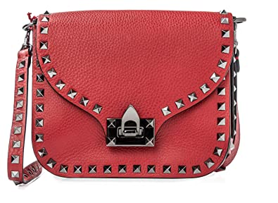 c270d67d728 VALENTINO Red Small Rockstud Leather Handbag Bag Silver Authentic ...