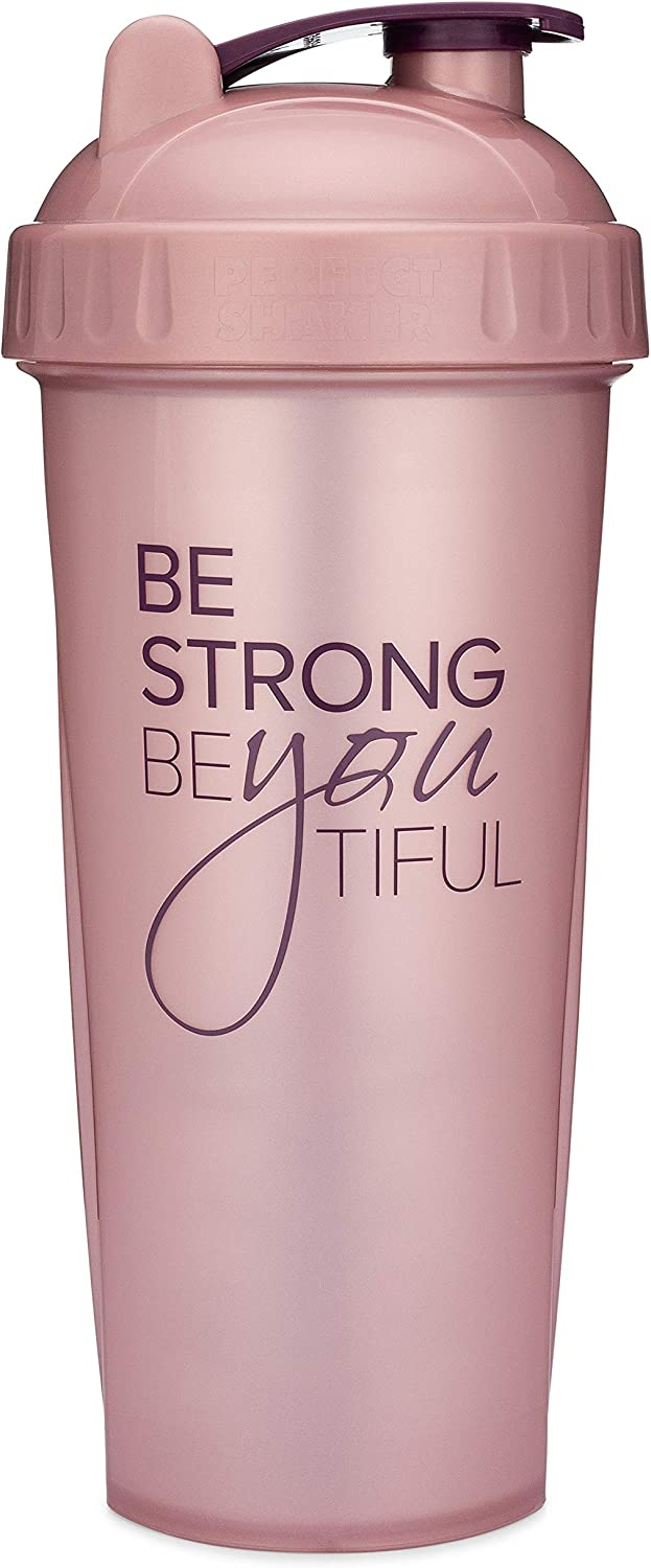 Motivational Quotes on Performa Perfect Shaker Bottle, 28 Ounce Classic Protein Shaker Cup, Dishwasher Safe, Perfect Gym Fitness Gift (Be Strong - Rose - 28oz)