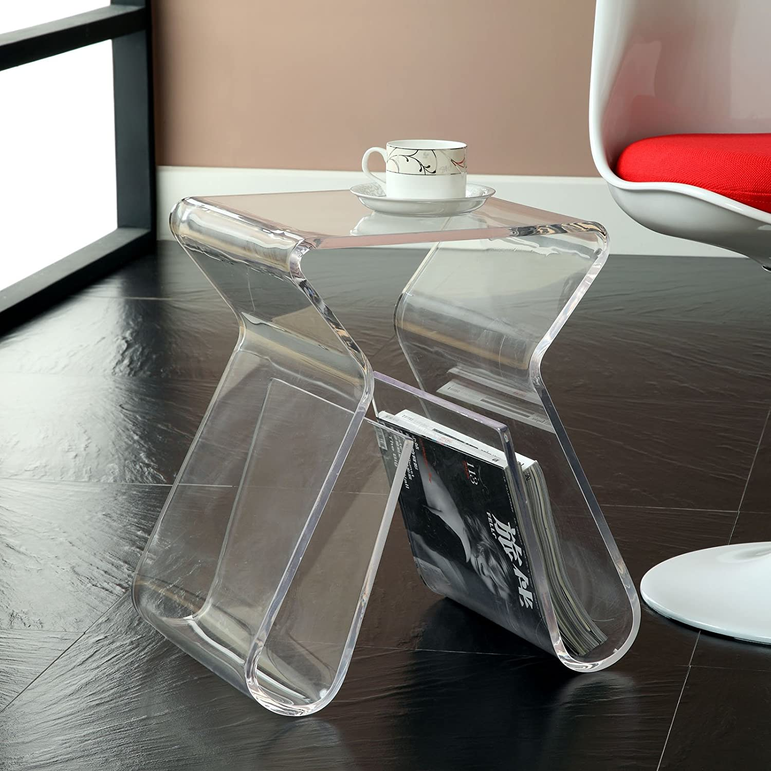 amazoncom modway acrylic end table with magazine rack in clear  - amazoncom modway acrylic end table with magazine rack in clear kitchen dining
