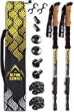 Guide Edition 100% Carbon Fiber Trekking / Hiking Poles with Anti-shock Tips and Cork Grips - Yosemite Golden Flow - Enjoy the Outdoors