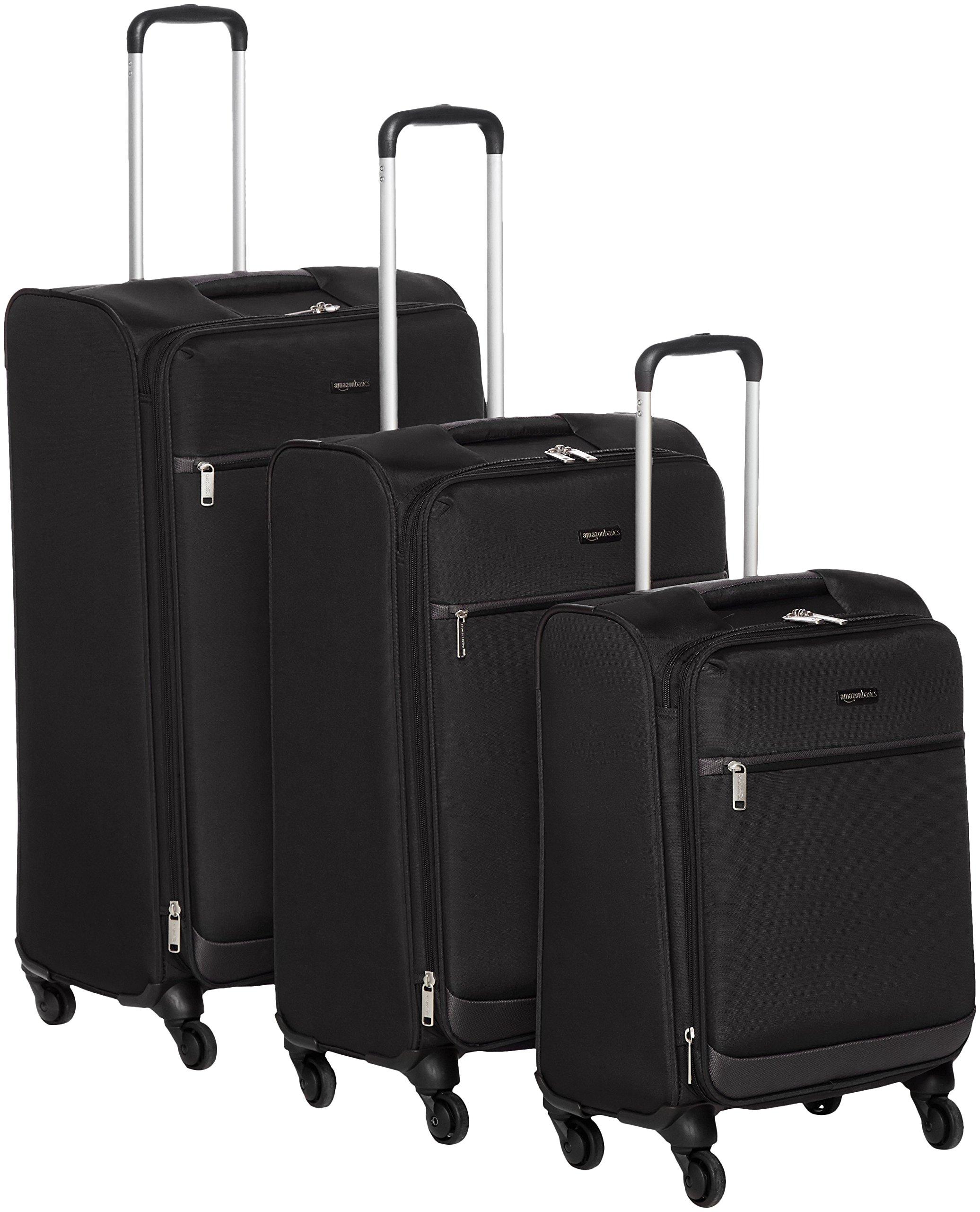 AmazonBasics Softside Spinner Luggage - 3 Piece Set (21'', 25'', 29''), Black