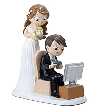 Mopec Figurine Mariés Et Jeux Vidéo Poly Résine Blanc 85 X 185 X 21 Cm
