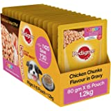 Pedigree Gravy Puppy Dog Food Chicken & Rice, 80 g (Pack of 15)